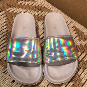 Urban Outfitters metallic slides